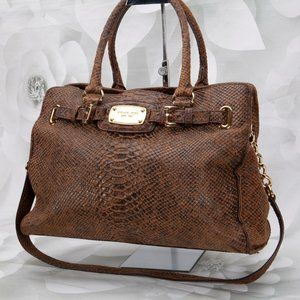 Michael Kors Embossed Snake Satchel Handbag Purse
